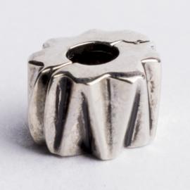 Be Charmed stopper bedel  met groot gat zilver met een rhodium laag (nikkelvrij) c.a. 8 x 6mm gat:3.5 mm