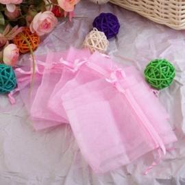 c.a. 100 stuks organza zakjes, roze  10 x 12cm