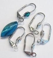Per paar Antiek zilveren metalen oorbellen haakjes 18 mm excl strass en glaskraal, ruimte voor 4 mm strass