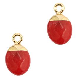 1 x Natuursteen hangers Crimsom red-gold Jade