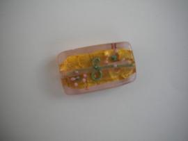 Erg mooie glaskraal, handgemaakt! Mat Oranje 25mm