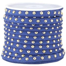 20 cm Imi. Suède leer 5mm met studs goud Cobalt blue