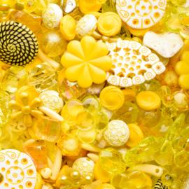 Luxe acryl kralen mix geel (250 gram)  Kies voor pakketpost