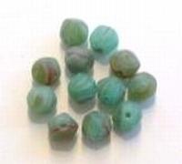 10 Stuks Glaskraal rond groen gemeleerd 7 mm