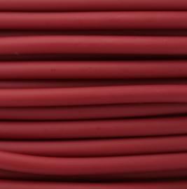 100 cm hol Rubber DQ koord 2mm per meter geknipt Bordeaux rood