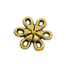 5 x Metalen bedel tussenstuk Bloem Antiek Goud 9 mm