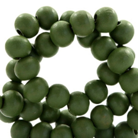 30 x Houten kralen rond 8 mm Army green