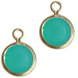 2 x DQ facethanger gekleurd Goud-licht turquoise blauw 7x10 mm