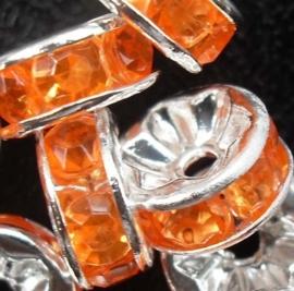 50 stuks Verzilverde Rondellen 8 mm oranje
