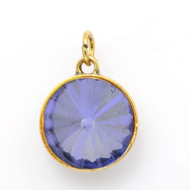 Geboorte steen hanger prachtig kristal facet 18 x 12mm - Juni Licht Amethist Goudkleur