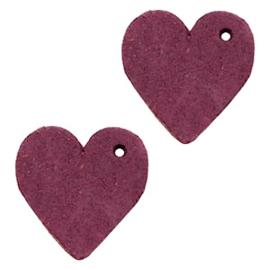 1 x DQ leer hangers hart 25mm Light aubergine red
