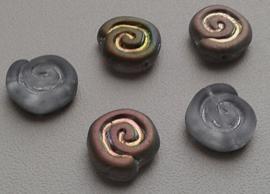 10 Stuks Glaskraal slakkenhuis grijs gemeleerd met div mix kleuren 12 mm