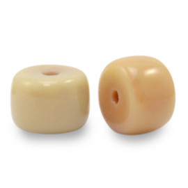 20 x rondellen glaskralen Nude Brown  6mm