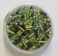 Pracht Rocailles-Mix + staafjes Lime/bruin tinten 17 gram 7518-4
