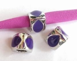 Per stuk European Jewelry kraal met paarse epoxy antiek zilver 10 mm