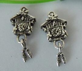 2 x tibetaans zilveren bedeltje van een koekoeksklok 25 x 10 x 3mm Gat: 2mm