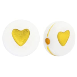 10 x hartjes kralen van acryl hartjes White-gold ca. 7mm (Ø1.3mm)