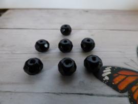 Per stuk Luxe facet Donut  Glaskraal zwart 8 x6 mm gat: 1mm