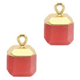 1 x Natuursteen hangers square Crimsom red-gold Jade