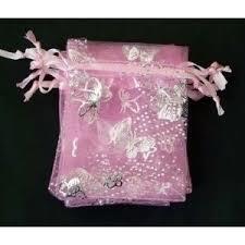 c.a. 100 stuks organza zakjes 9x12 cm roze met vlinders