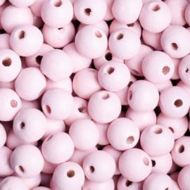 20 x Houten kraal  8mm kleur: roze gat: 2mm