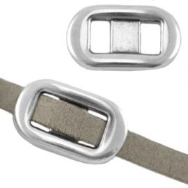 1x DQ metaal schuiver met oog rechthoek (5mm plat leer) keuze uit verschillende kleuren 22x13 mm