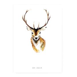 """4 x Sieraden kaartjes """"oh deer"""" Wit 14.5x10cm"""