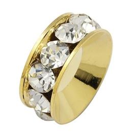 Schitterende Gold Plated  European Jewelry kraal met bergkristal erg mooi!! 15 x 5,5mm, gat: 7mm
