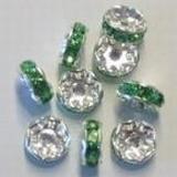 Per stuk Strass-rondel zilver Peridot 7 mm