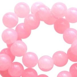 30 x Crackled opal glaskralen 6 mm Pink