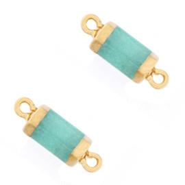 1 x  Natuursteen hangers tussenstuk hexagon Icy turquoise blue-gold