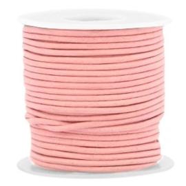 50 cm DQ leer rond 1 mm Rouge pink - vintage finish