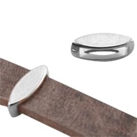 2 x DQ metaal schuiver ovaal (voor DQ leer plat 10mm) Antiek zilver (nikkelvrij)