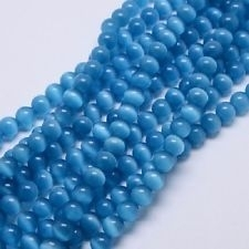 10 Stuks Glaskraal cat-eye blauw 8 mm.
