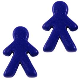 10 x Keramiek Poppetje kraal blauw 16x23 mm