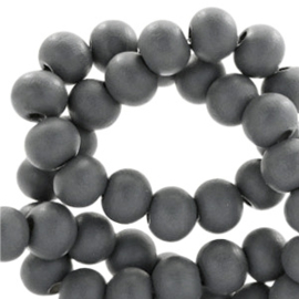 30 x Houten kralen rond 8 mm Anthracite grey