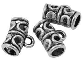 10 x Tibetaans zilveren hanger bails 11 x 9 x 5,5mm oogje: 2mm  oud zilver