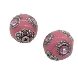 Schitterende handgemaakte Kashmiri kraal 20mm roze ingelegd met metaal & strass B- keuze lees omschrijving