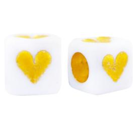 10 x Letterkralen van acryl hartjes White-gold ca. 6mm (Ø3.5mm)