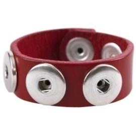 Drukker armband van runderleder en drukknoopsluiting enkele rij voor drie verwisselbare drukkers rood 22cm