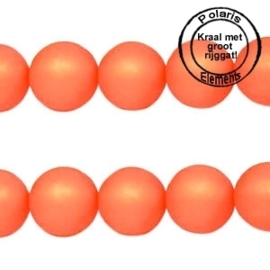 5 x Polaris kralen mat rond 10 mm Hyacinth orange groot gat 2,5mm