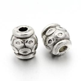 10 stuks Tibetaans zilveren tussenzetsel kraal 6 x 6mm gat: 2mm