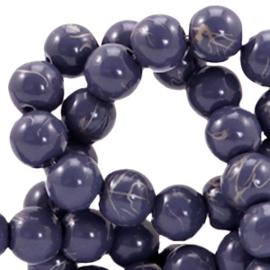 15  stuks 6 mm glaskralen drip-art Donker blauw paars