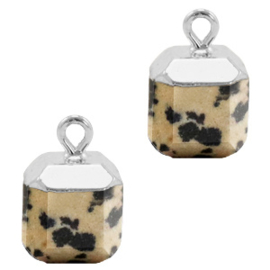 1 x Natuursteen hangers square Greige-silver Spotted stone