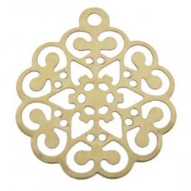 1x bedel metaal filigraan bloem goud 15x17mm goud