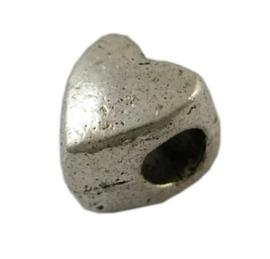 5 x Tibetaans zilveren European Jewelry bedel hart 9 x 8mm Gat : 4,7mm