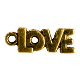 6 x Tibetaans zilveren bedel met het woordje LOVE goudkleur 21 x 8mm oogje: 2mm