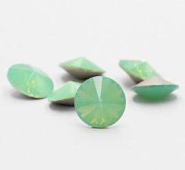 5 x Puntsteen Rivoli Preciosa  SS45 c.a. 10 x 5mm Opal Green