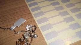 100 stuks prijslabeltjes prijskaartjes voor bijvoorbeeld ringen 10 x 54mm zilver