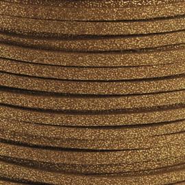 2 meter Faux suède veter,  dark golden rot 3mm met lichte glans